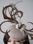 Woodland Tones Browns, Ivory and Light Gold Pheasant Feathered Button Fascinator Hatinator Hat